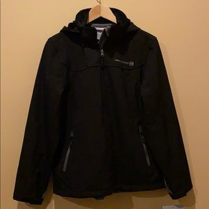 NWT Free Country Black Soft Shell with Hood Large
